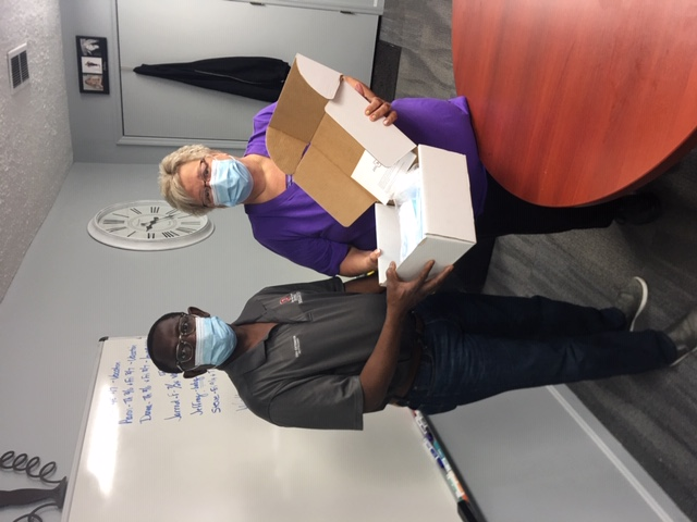 Distributing PPE kits in Fayette County