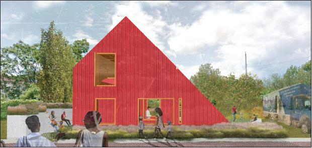 Artist's rendering of garden building