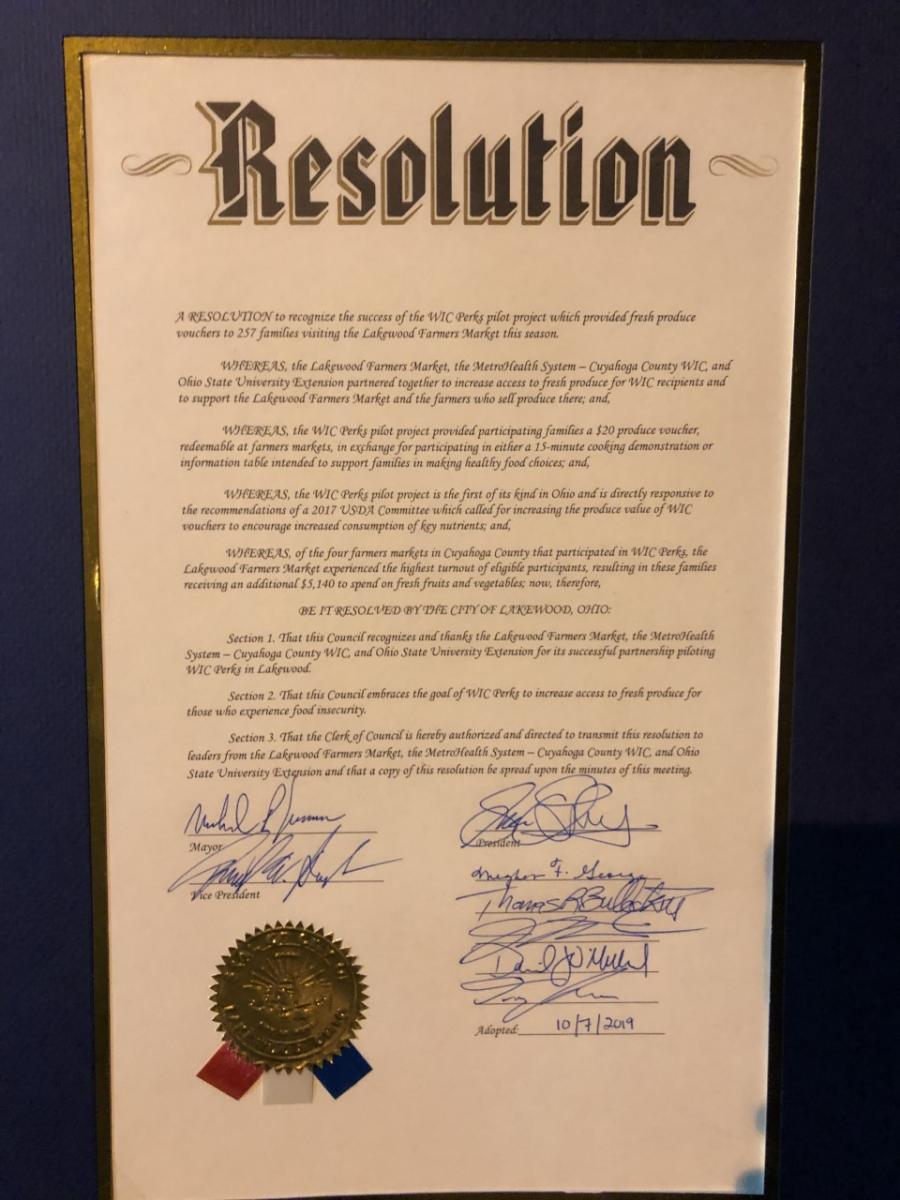 Resolution recognizing the WIC Perks program